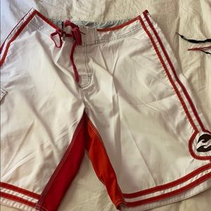 White and Red Billabong Shorts